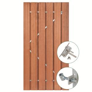 Hardhouten tuindeur Privacy met rvs slot 195x130cm