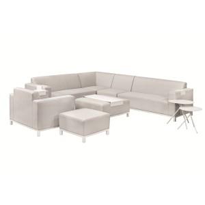 Textileen loungeset licht grijs Colorado Springs voetenbank/hocker