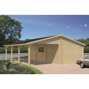 Blokhut 70mm Garage-Carport Berggren (75m² shingles)