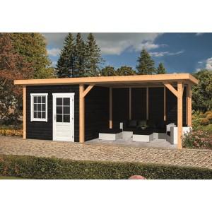 DHZ Plat dak met zijluifel Holten 300x300+390cm basis incl. schroefpakket
